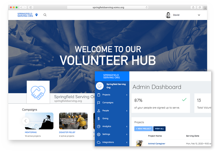 Volunteer dashboard preview