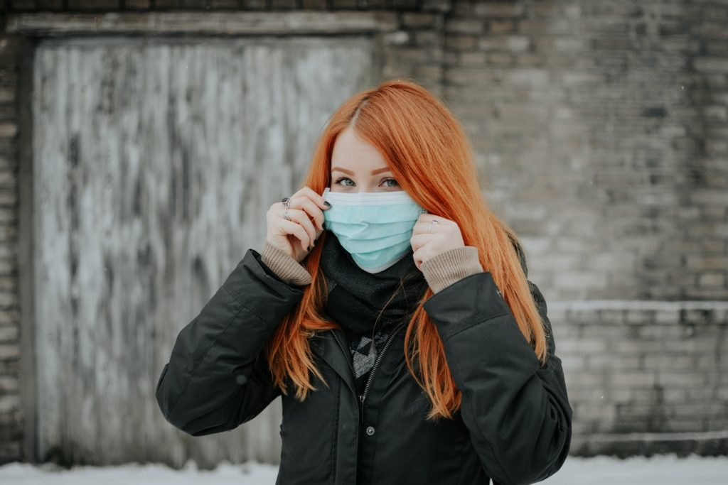 Girl with COVID-19 mask