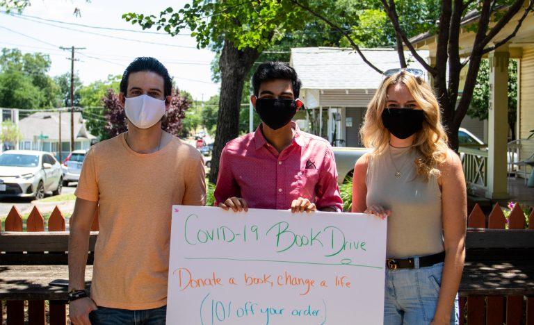 Seth Block, Amit Banerjee and Bora Laci hosting a Book Drive in Dallas