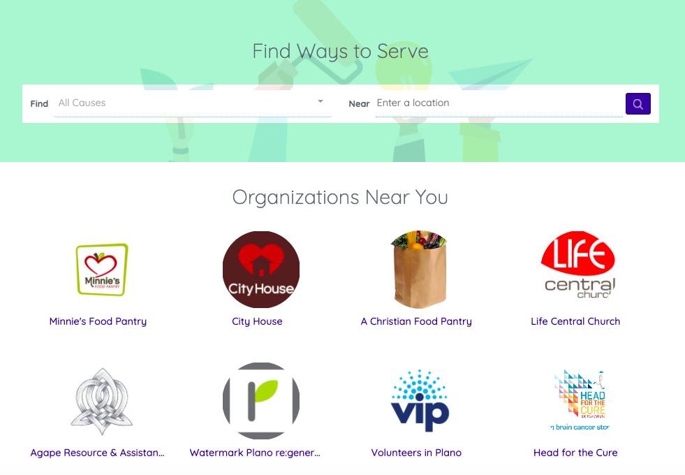 Volunteer Opportunities Explore Page