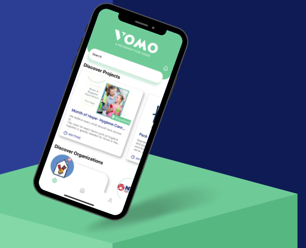 VOMO Volunteer app for iPhone and Android